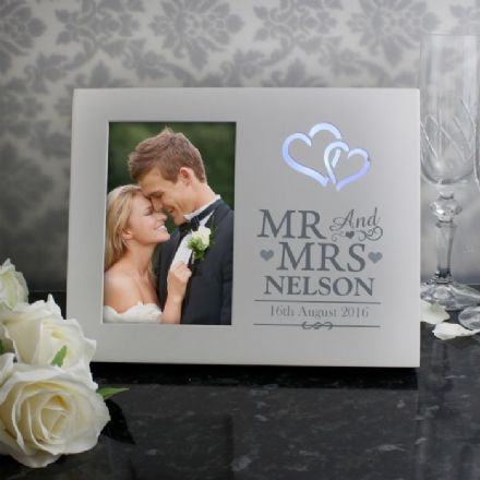 Personalised Mr & Mrs 6x4 Light Up Photo Frame